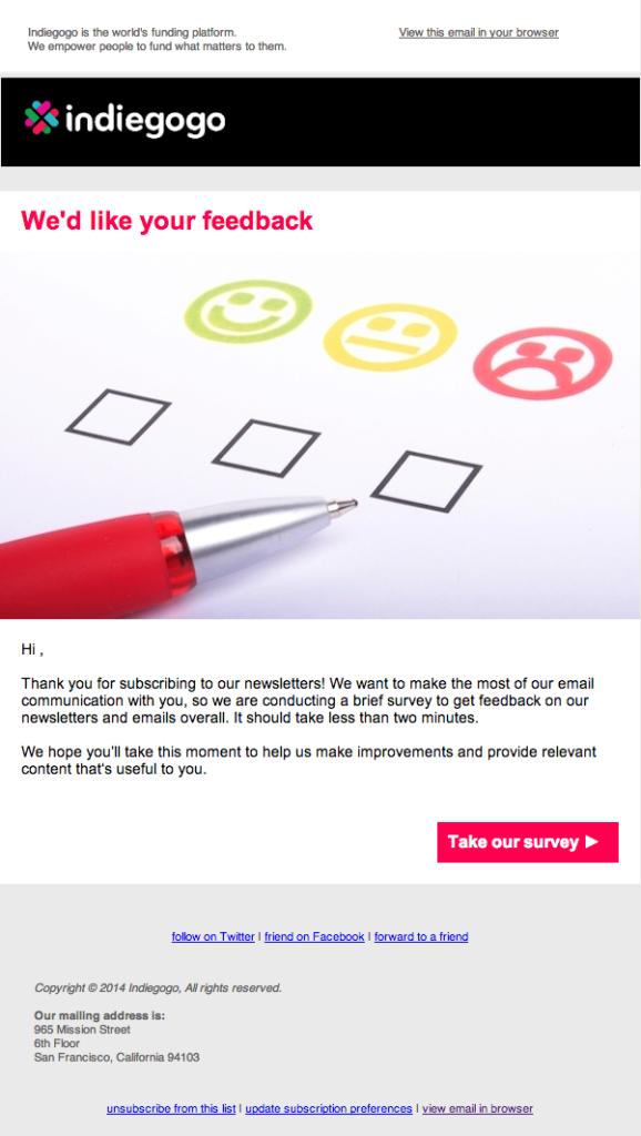 Письмо от Indiegogo, которая использует автоматические сообщения-опросы для того, чтобы получить отзывы