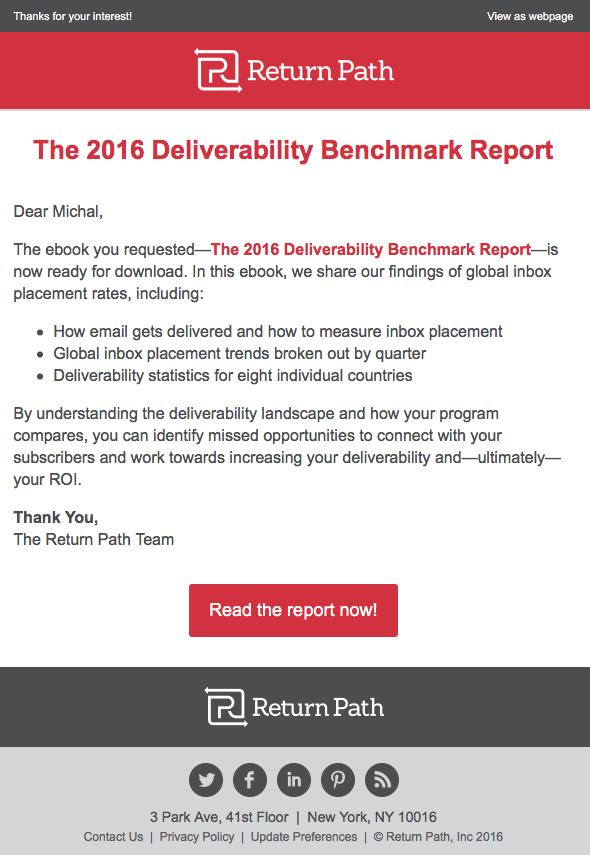Емейл письмо от Return Path, в котором компания благодарит подписчиков и предлагает бесплатный отчет