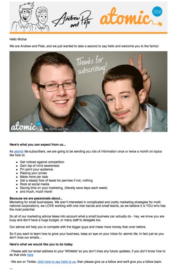 Приветственное письмо от компании Andrew and Pete, в котором фирма знакомит новых пользователей со своей командой