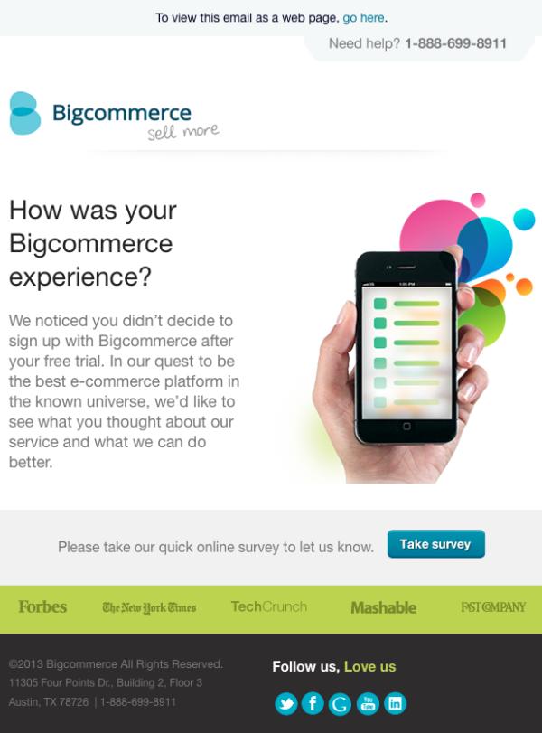 Автоматическая емейл-рассылка, которую отправляет компания BigCommerce для того, чтобы поблагодарить за тестирование