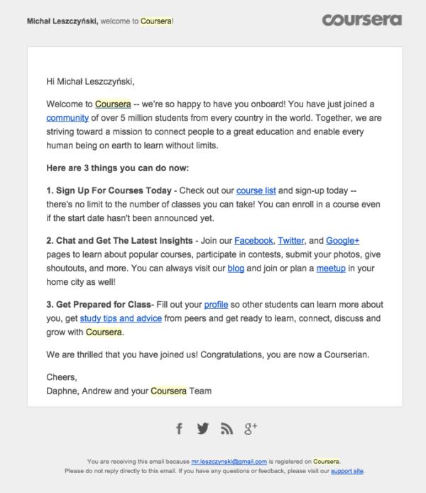 Приветственное письмо от Coursera, в котором компания рассказывает про свою структуру и доп. ньюансы