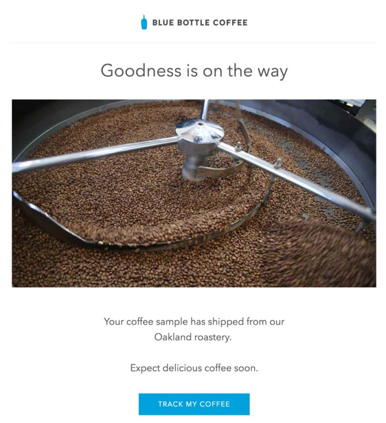 Транзакционное емейл сообщение от Blue Bottle Coffee, с помощью которого пользователь может отслеживать поставку