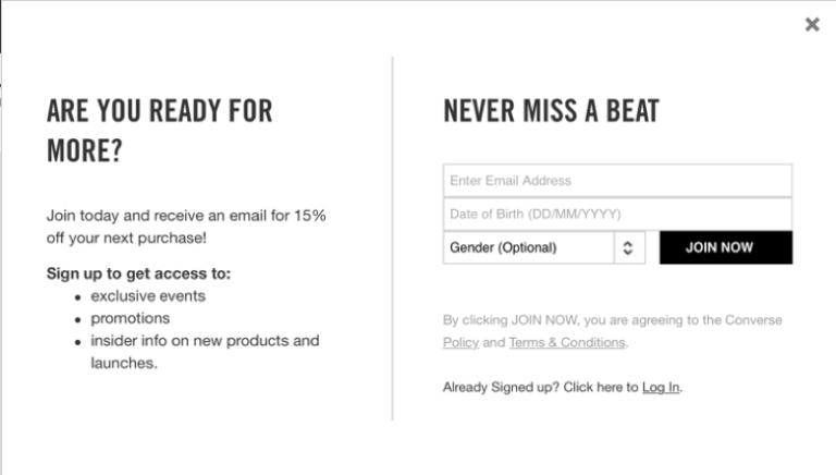 Стандартная форма от Converse, в которой компания просит подписчиков предоставить демографические данные