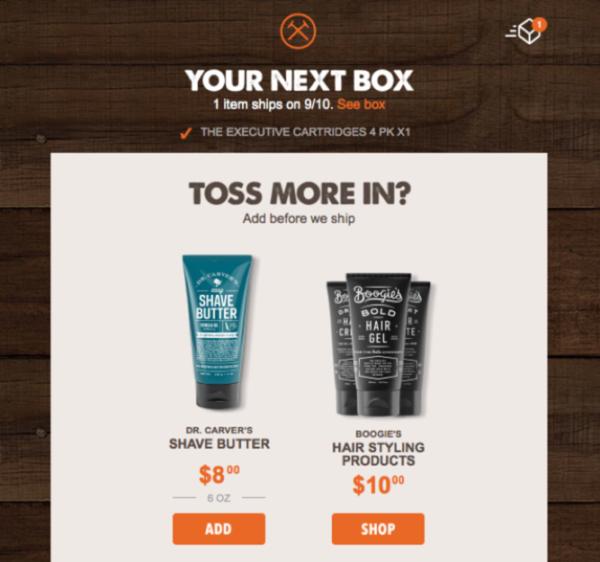 Транзакционное емейл сообщение от Dollar Shave Club, с помощью которого компания предлагает дополнительные продукты (апселл)