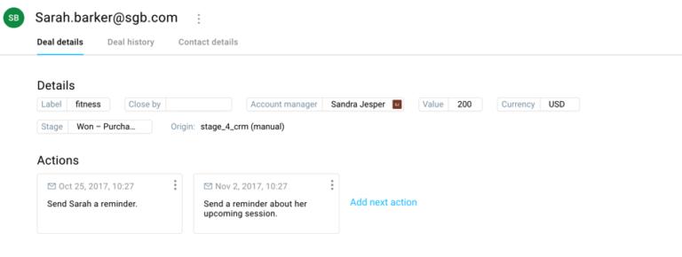 Скриншот интерфейса GetResponse CRM, показывающий удобную работу с системой, которая экономит время