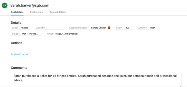 Интерфейс GetResponse CRM, где можно отследить этапы транзакций и взаимоотношений клиента с сайтом