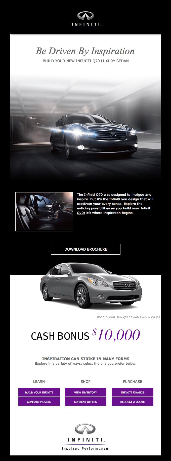Емейл рассылка от Infiniti с картинкой эксклюзивного авто, с помощью которого компания действует на чувства клиентов