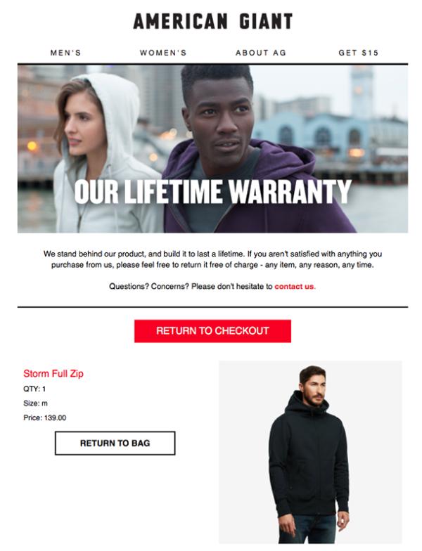 пример емейл-сообщения от American Giant, если клиент не совершил покупки