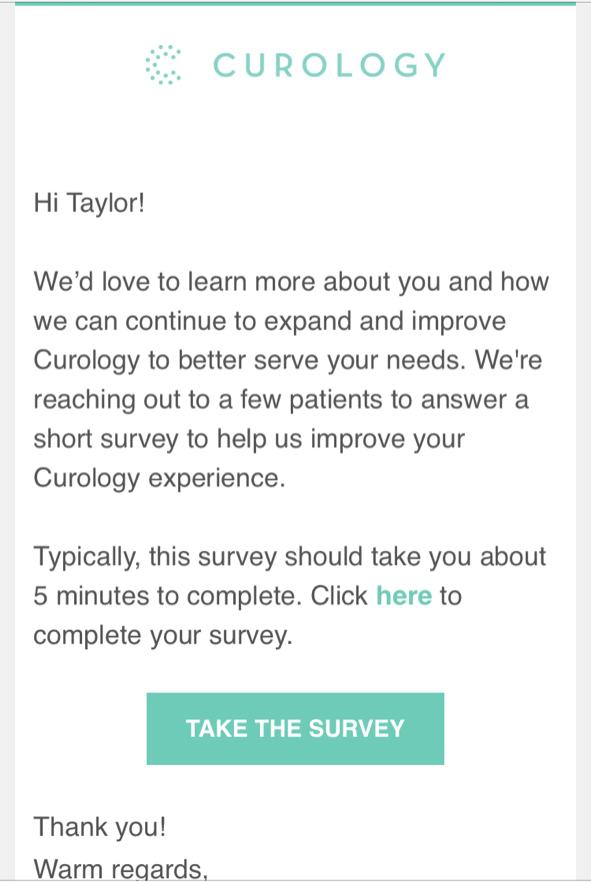 Пример письма CUROLOGY с просьбой заполнить короткую анкету для улучшения работы сервиса