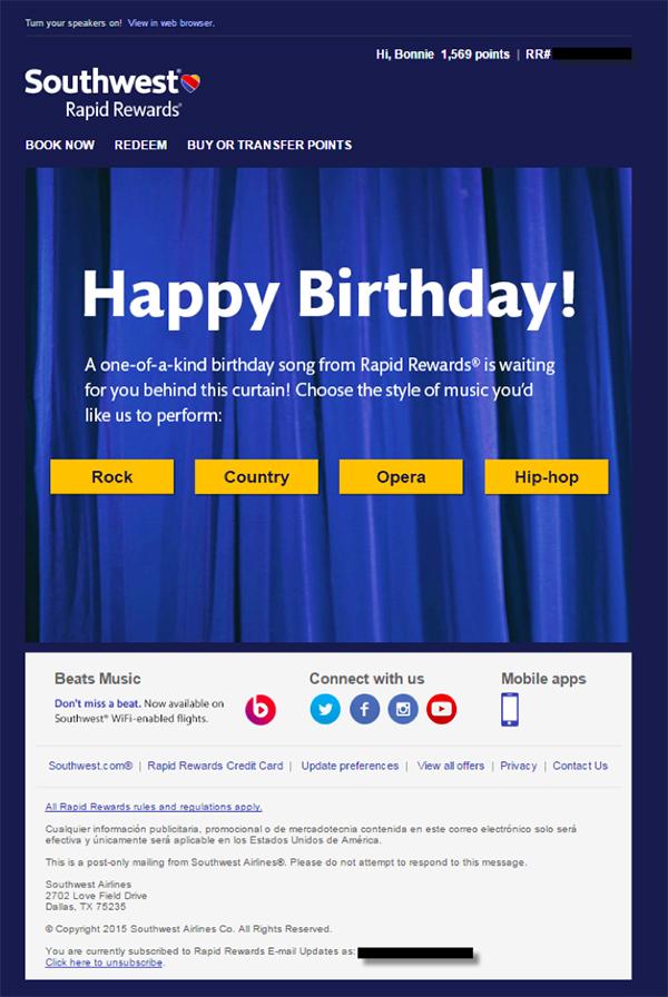 Пример праздничного емейл письма от Southwest, с помощью которого компания увеличивает лояльность подписчиков