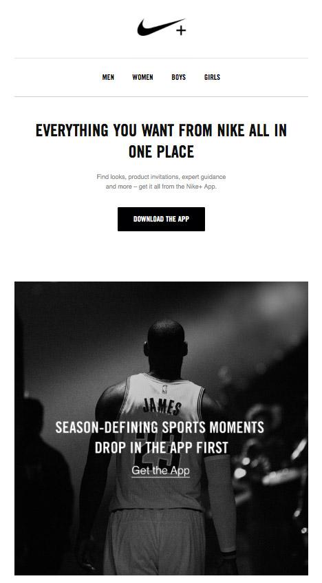 приветственная кампания для новых клиентов, которые скачали приложение Nike