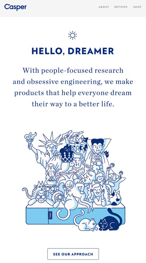 приветственное письмо от Casper, где компания объясняет, какие продукты производит и как они улучшают жизнь пользователей