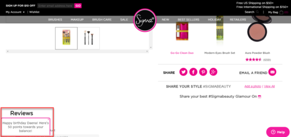 Пример бонусной программы от Sigma Beauty