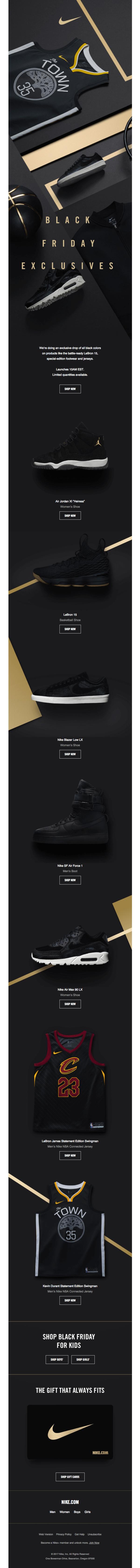 Емейл письмо по случаю Черной пятницы от Nike