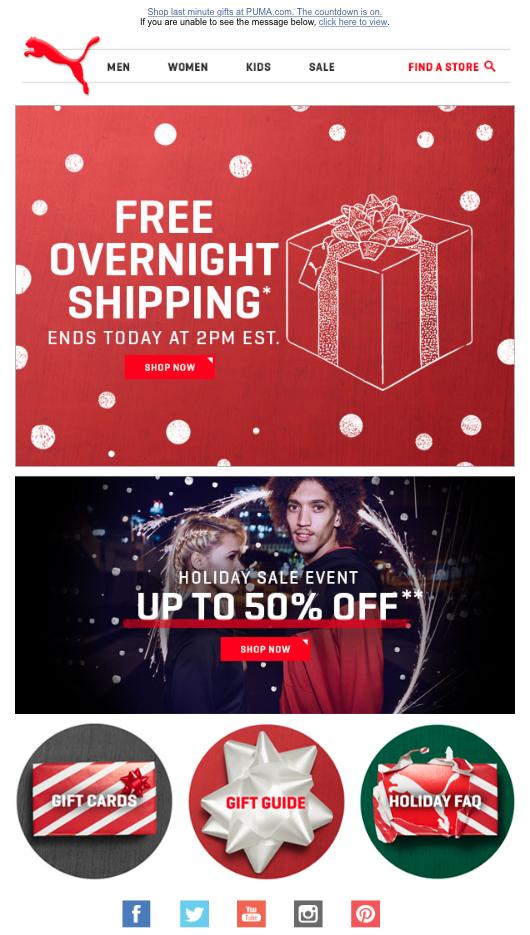 Праздничный емейл от Puma по случаю Рождества с предложением бесплатной доставки на следующий день