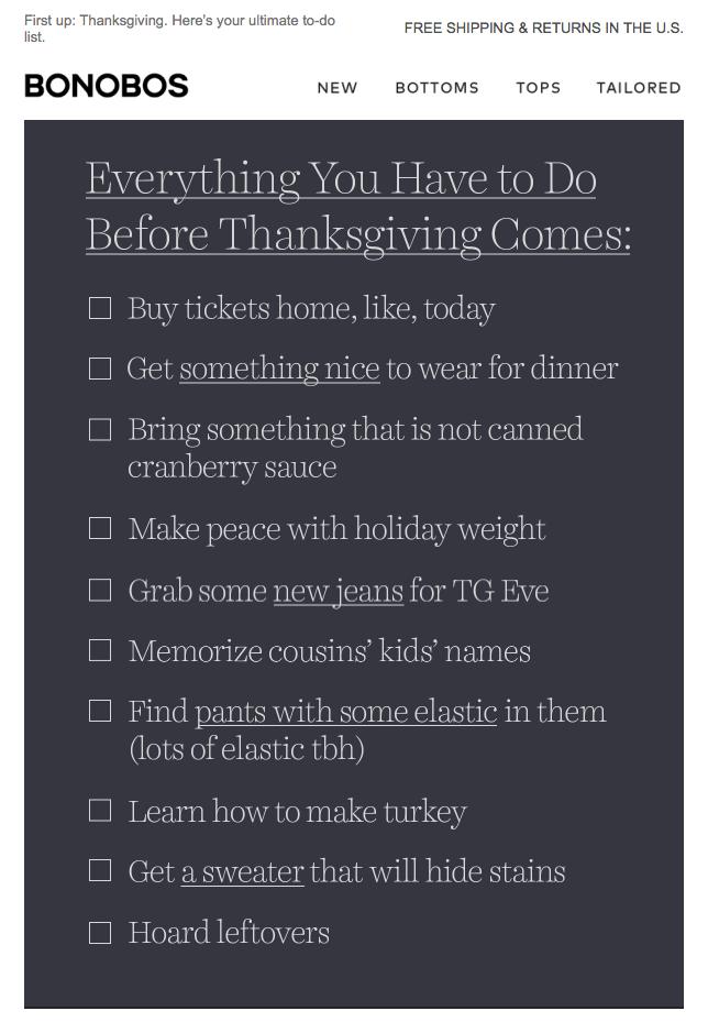 Праздничный емейл от Bonobos со списком дел на День благодарения