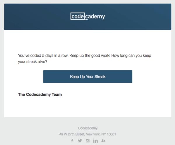Транзакционное емейл сообщение CodeCademy, подтверждающее изменение активности пользователя
