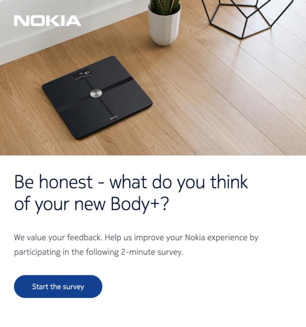 Емейл с помощью которого компания Nokia выстраивает коммуникацию с клиентами после покупки