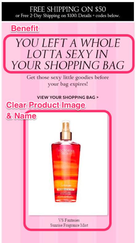Письмо Victoria Secret бывшему клиенту с преимуществами продукта