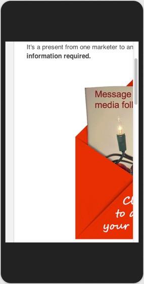 Примет неоптимизированного емейл сообщения на экране мобильного телефона