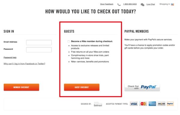 Оплата с учетной записью и без создания учетной записи для того, чтобы уменьшить количество клиентов, которые покидают сайт