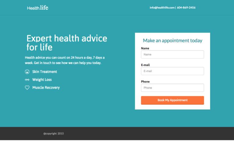 Пример использования контрастого цвета кнопки призыва к действию Health Life