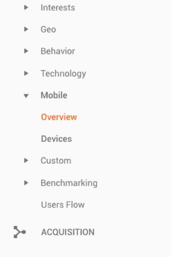 Скриншот, показывающий возможность сегментации с учетом устройства в Гугл Аналитикс