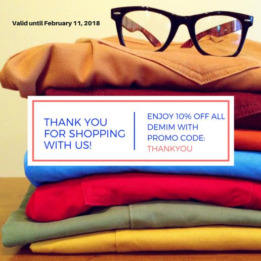 Картинка с одеждой, как пример удачного использования фото для благодарности в емейл-рассылке