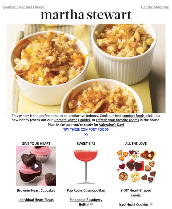 Емейл рассылка по случаю Дня святого Валентина от от Martha Stewart с рецептами и DIY-идеями