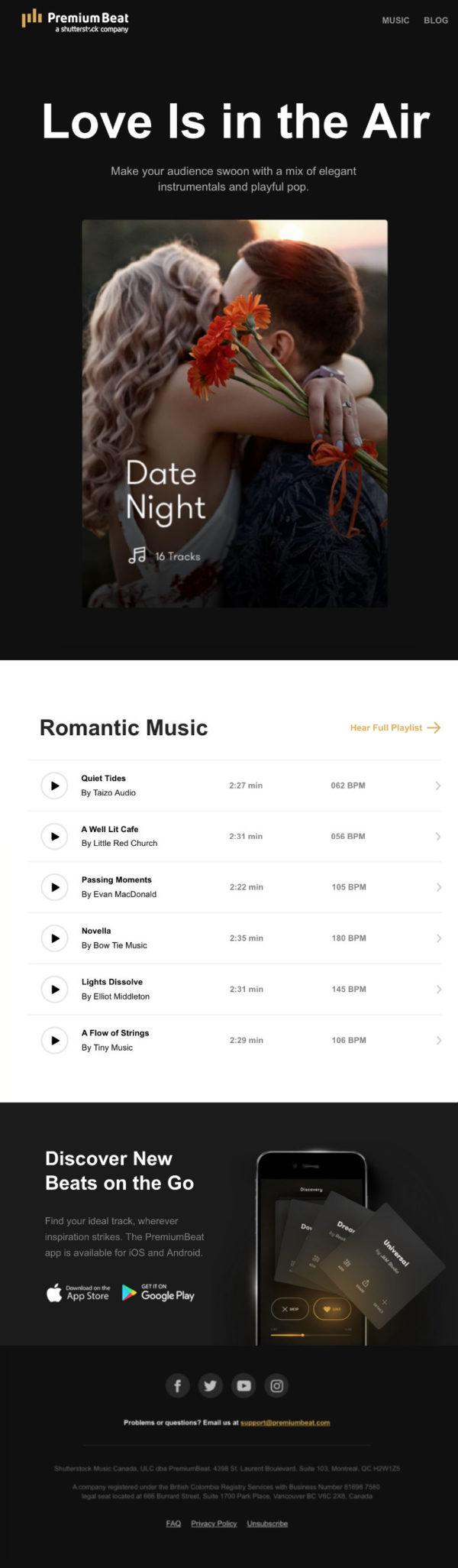 Емейл рассылка по случаю Дня святого Валентина от PremiumBeat с приятным подарком в качестве подборки романтичных песен