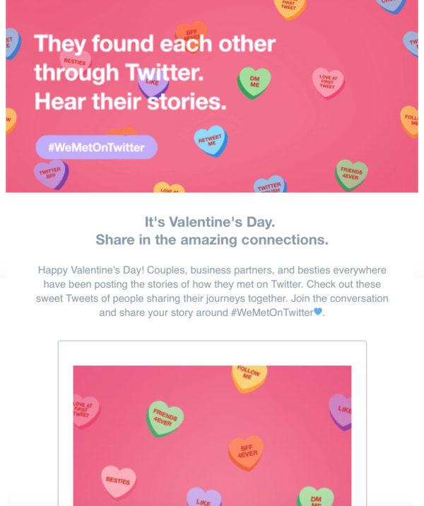 Пример использования хештега от Twitter, подготовленного по случаю Дня святого Валентина