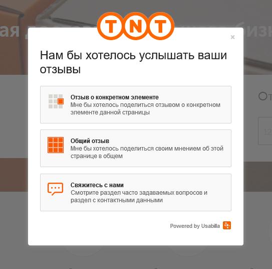 Форма связи на сайте компании ТНТ, где пользователь может оставить фидбек специального или общего характера