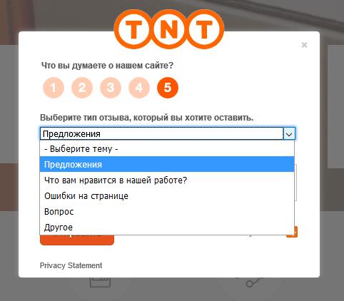 Выбор вопросов, по которым клиент может оставить фидбек на сайте компании ТНТ