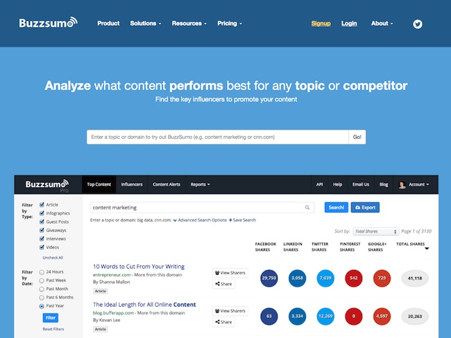 Сервис Buzzsumo для анализирования тем и вопросов, которые интересует целевую аудиторию