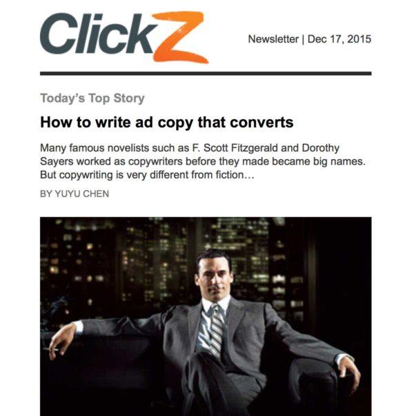 Исправленное емейл сообщение от ClickZ с картинкой