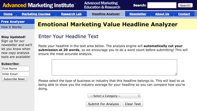 Emotional Marketing Headline Analyzer - сервис для тестирования эмоциональности заголовков