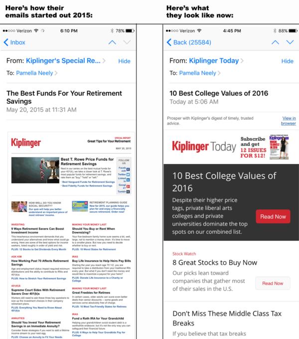 Рассылка от Kiplinger's, которая исправила ошибки в емейл кампаниях, которые пользователи просматривают на мобильных устройствах
