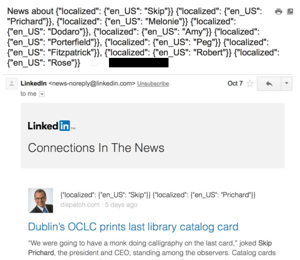 Пример письма LinkedIn с ошибками в теме