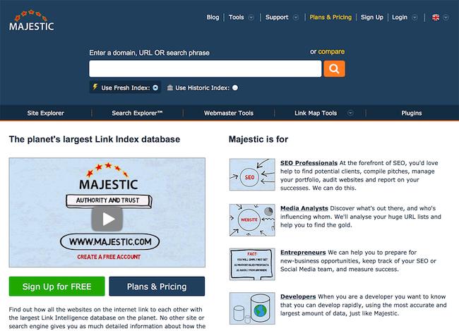 Платформа MajesticSEO, предлагающая также бесплатные инструменты