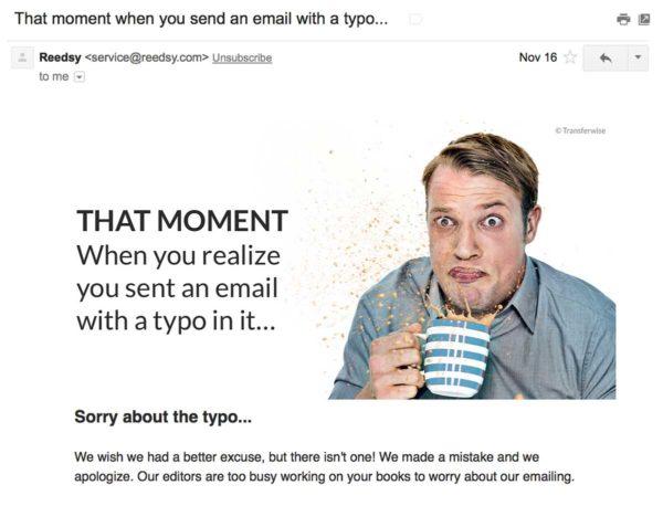 Гениальное follow-письмо Reedsy как реакция на первое письмо с опечатками в теме