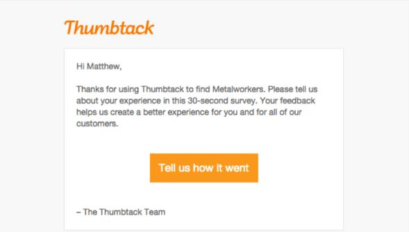 Письмо от онлайн сервиса Thumbtack целью которого является узнать мнения клиентов