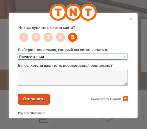 Возможность оставить фидбек в форме предложения на сайте компании ТНТ