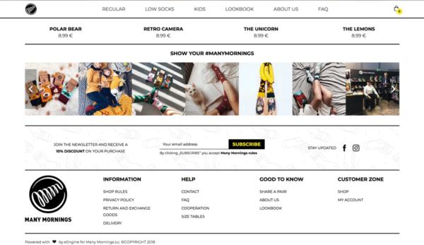 Пример веб-формы от Many Mornings, которая предлагет скидки тем подписчикам, которые подпишутся на рассылку
