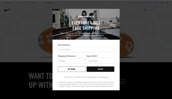 Пример веб-формы для сбора электронных адресов подписчиков