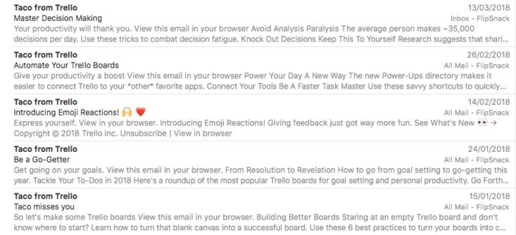 Креативная email рассылка примеры - Taco от Trello