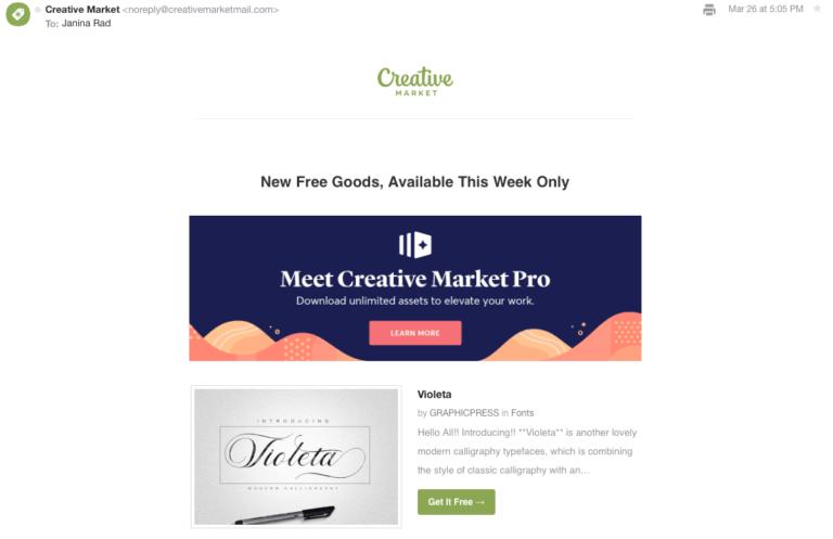 рассылка CreativeMarket, предлагающая бесплатные фото каждый понедельник
