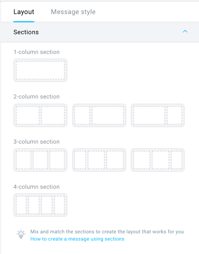 sections in new email creator.