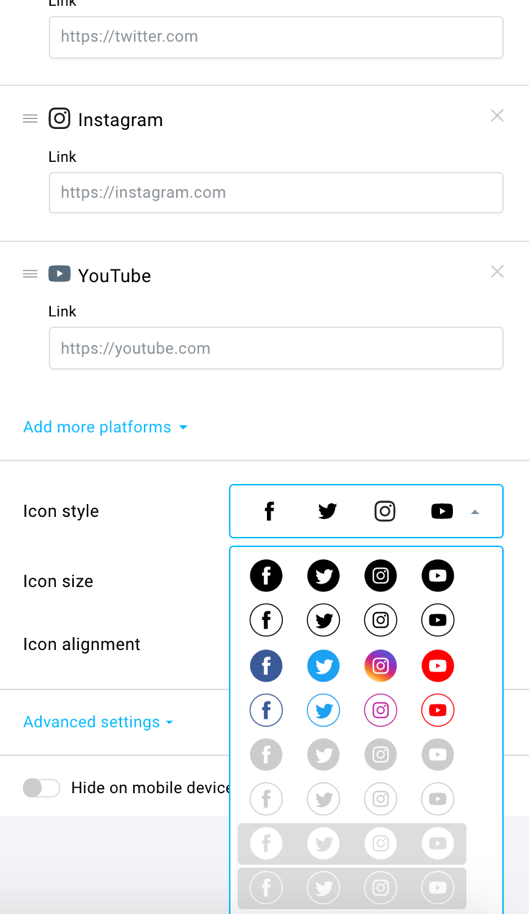 social sharing and follow icons.