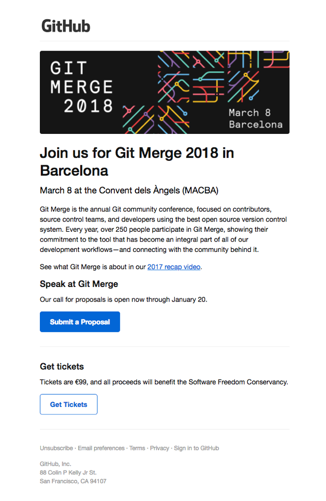 GitHub event invitation email.