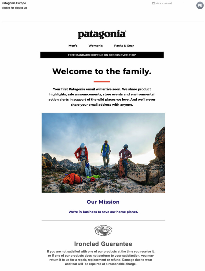 Welcome email example from Patagonia